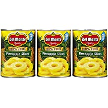 Del Monte PINEAPPLE SLICES in 100% Pineapple Juice 20oz (3 Pack)