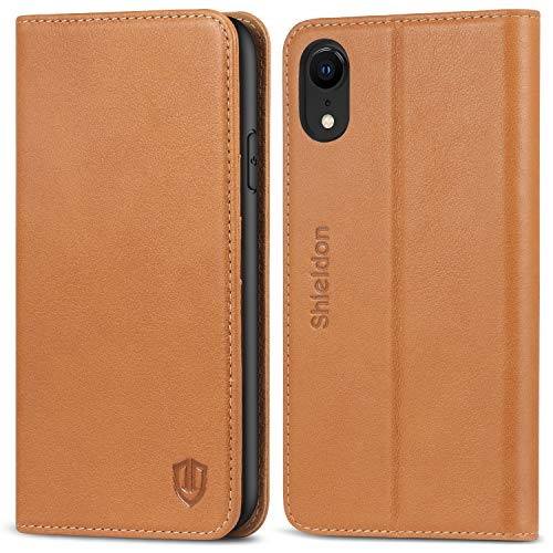 Folio Leather Genuine - iPhone XR Case, SHIELDON Genuine Leather Folio Wallet Magnetic Protective Case [Shock Absorbing] [RFID Blocking Card Holder] Kickstand Compatible with iPhone XR (6.1 inch) - Brown