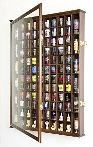 108 Shot Glass Shooter Display Case Holder Cabinet Wall Rack w/ UV Protection -Walnut by sfDisplay.com, Factory Direct Display Cases (Image #1)