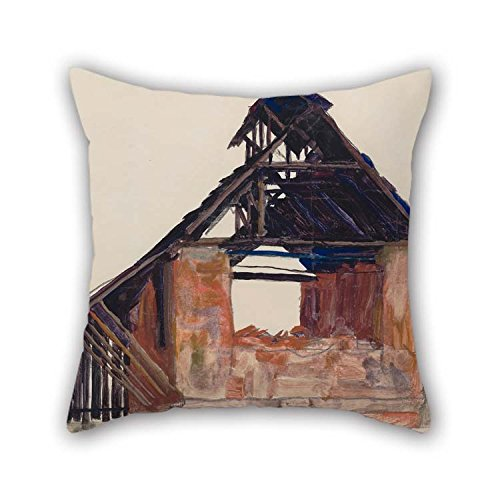 TonyLegner Pillow Covers of Oil Painting Egon Schiele - Old Gable for Teens Relatives Home Office Couch Floor Teens 20 X 20 Inches / 50 by 50 cm(Both Sides)