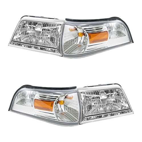 Headlight Lamp Parking Marker Corner Light LH RH 4 Piece Kit for Grand Marquis