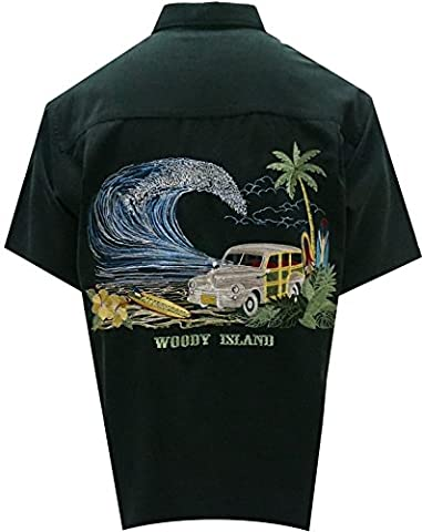 Bamboo Cay - Men's Tropical Style Woody Island Button Front Embroidered Hawaiian Shirt (Large, (Aloha Island Resort)