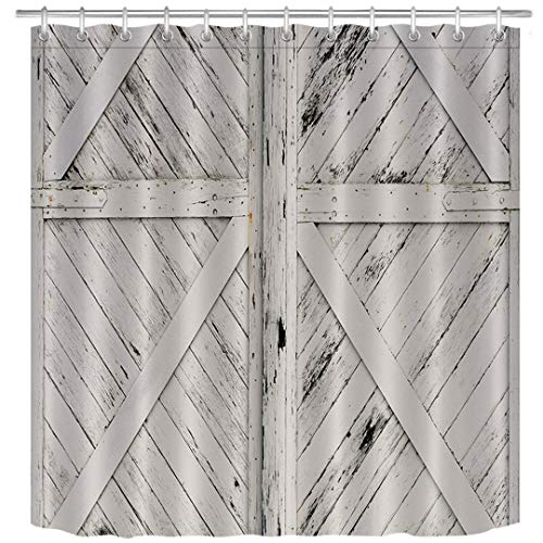 (LB Rustic Barn Door Grey White Tan Brown Painted Barn Wood Decor Shower Curtain for Bathroom, Western Country Theme House Decor, Waterproof Fabric Decor Curtain, 70x70 Inch)