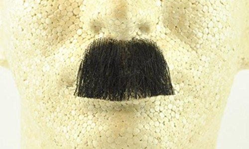 Charlie Chaplin Mustache BLACK - no. 2029 - REALISTIC! 100% Human Hair - Perfect for Theater - Reusable!