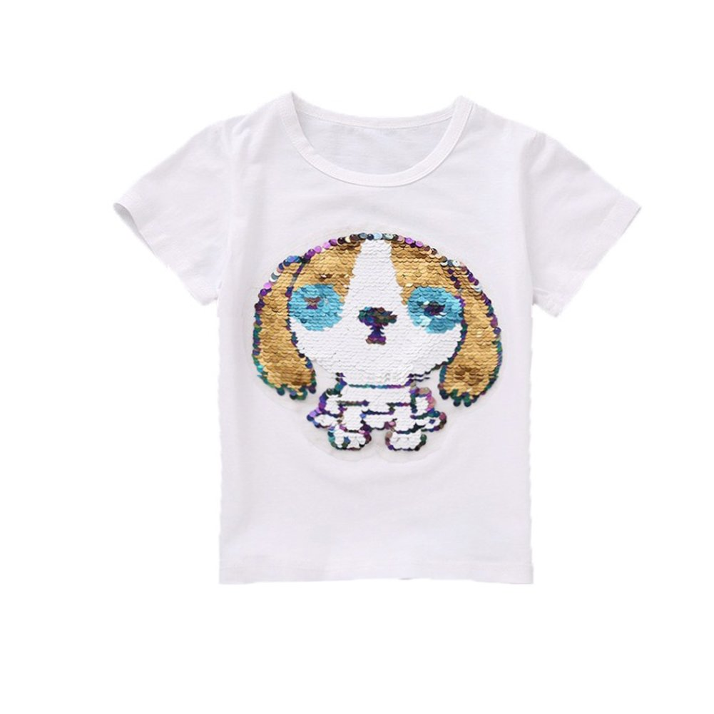 OWMMIZ Kid's T-Shirt for Short Sleeve Cotton Tee/Dog Sequin Print T Shirt Suitable for Boys and Girls (White)