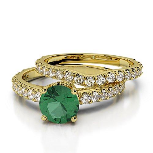 Or jaune 18carats 1CT G-H/VS sertie de diamants ronds découpé Émeraude et de mariage Bague de fiançailles et ensemble de Agdr-2055