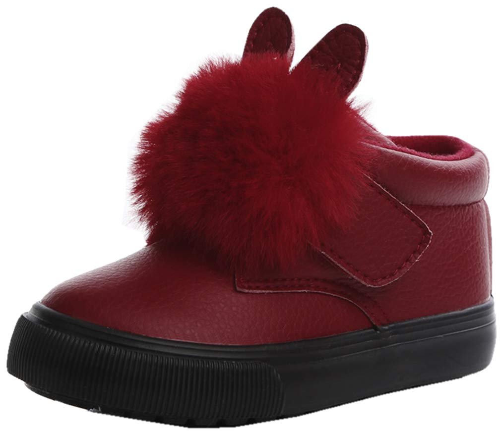 VECJUNIA Girl's Fashion PU Fluffy Bunny Ear Ankle Boots Waterproof Winter Shoes (Red, 5.5 M US Toddler)