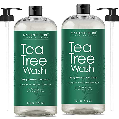 Antifungal Tea Tree Body Wash, Helps Nail Fungus, Athletes Foot, Ringworms, Eczema & Body Odor, Soothes Itching & Promotes Healthy Feet, Skin and Nails, Naturally Scented, Set of 2 16 fl. Oz