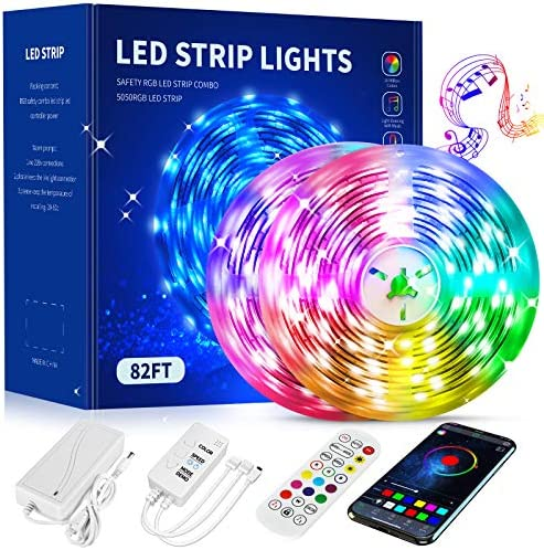 LED Strip Lights 82.5FT,Color Changing Led Strip Lights with Remote,App and Bluetooth Control,Led Lights Strips with Music sync,5050 LED Tape Lights,Smart Led Strip Lights for Bedroom,Kitchen