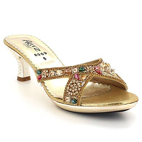Low Crystal on Toe Shoes Womens AARZ Bridal Wedding Heel Gold Open Slip Sandals LONDON Evening Diamante Party Ladies Size Kitten Comfort 7BSBnwAaxq