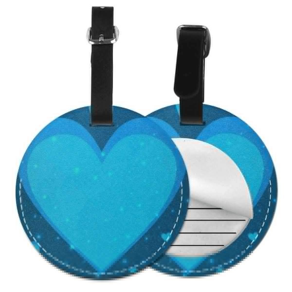 Round Luggage Tags Blue Colored Hearts PU Leather Suitcase Labels Bag