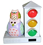 It's About Time Stoplight Sleep Enhancing Alarm Clock for Kids, Purple/Pink Owls