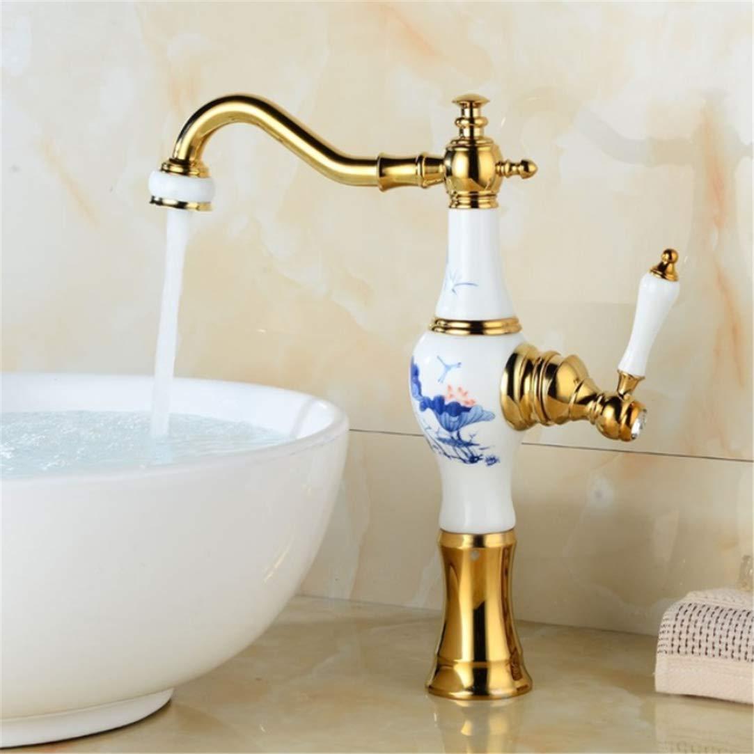 Basin Faucets European golden Bathroom Jade Single Handle Basin Mixer Tap Noble Gorgeous Swivel Copper Jade Basin Sink Faucets