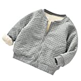 Girls Coats, Deloito Baby Girls Boys Zip Warm Winter Casual Solid Coat Infant Toddler Clothes Tops Warm Sweater Cardigan Coat Autumn Winter Outerwear Tops (Gray, 6(6M))