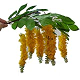 Thai Artificial Yellow Golden Shower Vase, flowers (6 items per 1 case), Cassia fistula, Silk Flower, National flowers of Thailand