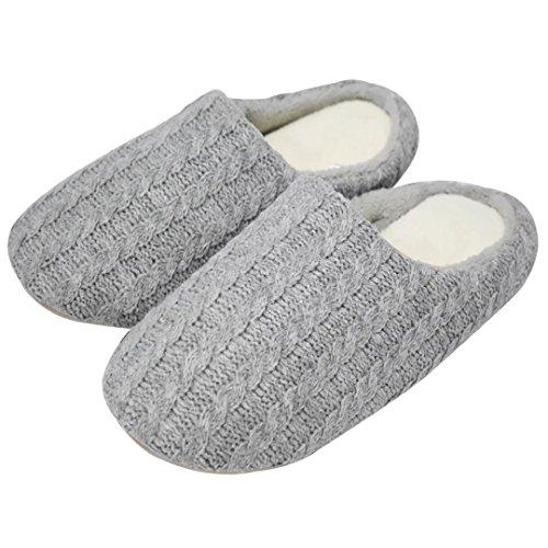 Qplus Qplus Fleece Knit Wollen Män Hus Mysiga Breda Tofflor Kudde Platt Slip-on Skor Inomhus C-grå