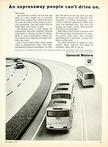 1968 Ad General Motors Metro Mode Expressway Highway Commuter Bus Lanes GM YHR3 - Original Print Ad