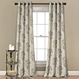 Cheap MYSKY HOME Dahlia Flower Damask Style Fashion Design Print Thermal Insulated Blackout Curtain with Grommet Top for Living Room, 52 by 84 inch, Brown – 1 Panel