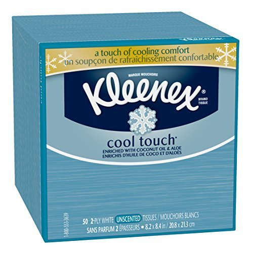 Kleenex Cool Touch Facial Tissues, Low Count Cube, 50 ct, (Pack of 27) by Kleenex