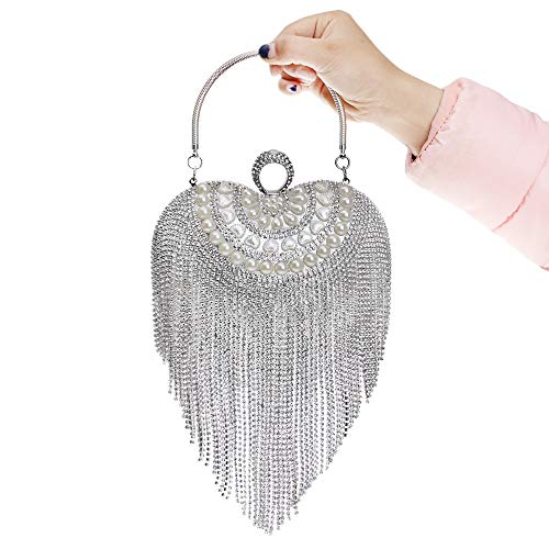 Silver Handbag Handbag Purse Jxth Clutch for Shape Golden for Bridal Wedding amp; Prom Beaded Bag Tassel Color Evening Party Long Cocktail Heart Drill Wedding Clubs Clutch Bag Evening with Women's tqwEHwCr