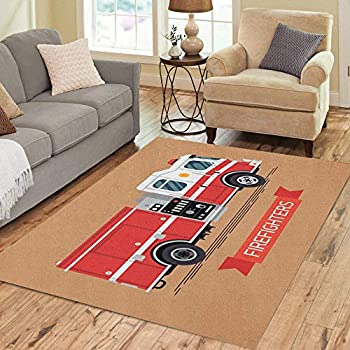 Pinbeam Area Rug Firefighters Cool Emergency Vehicle Fire Engine Truck Home Decor Floor Rug 5' x 7' Carpet