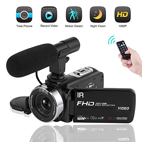 Video Camera Camcorder 1080P Digital Camera Night Vision YouTube Vlogging Camera with External Microphone and ()