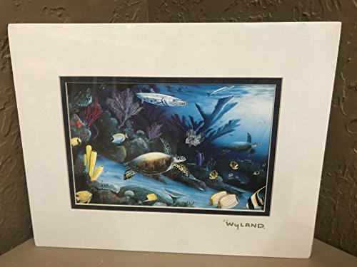 (By Wyland Living Reef (Turtle) Double Matted GoldFoil Stamp)