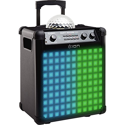 ION Audio Party Rocker Max | 100W Portable Bluetooth Party Speaker System & Karaoke Centre with Built-In Rechargeable Battery, Dome Party Light Display, LED Light Grille & Microphone ()