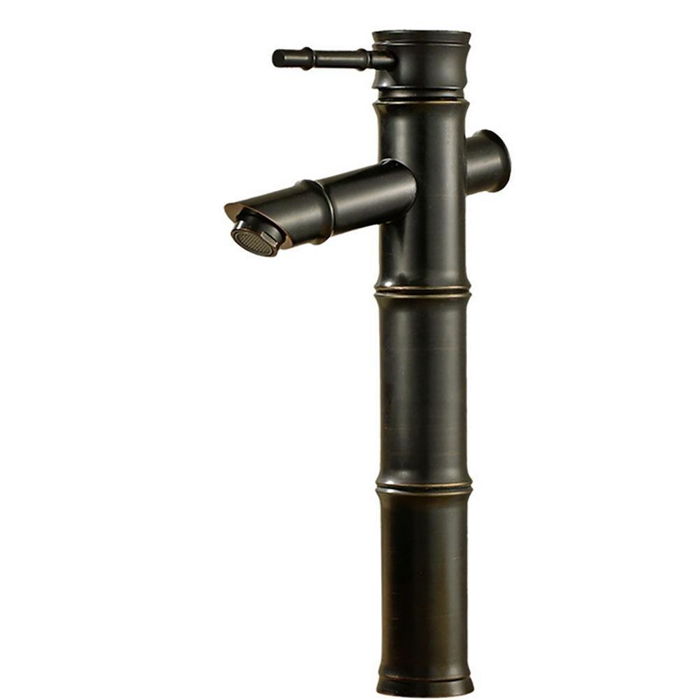 QW Bathroom basin faucet bamboo hot and cold full copper sink mixer black
