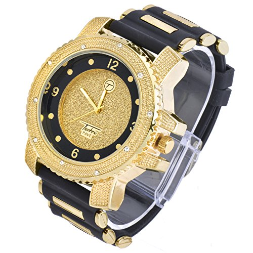 Filled Watch Band - Totally Iced Out Cz Techno Pave Gold Tone Black Band Over Sized Hip Hop Men's Bling Bling Watch Watches1