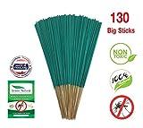 Green Natural Mosquito Sticks Lemongrass Citronella - 130 STICKS - Eco Friendly - Non Toxic - All Natural - No Deet - Mosquito Incense sticks (Lemongrass Thin Sticks)