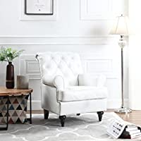 Classic Tufted Scroll Arm Chesterfield Faux Leather Accent Chair, Living Room Armchair with Nailheads (White)