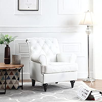 Classic Tufted Scroll Arm Chesterfield Faux Leather Accent Chair, Living Room Armchair with Nailheads (White) - Large comfortable tufted faux leather armchair, the perfect accent chair for your reading nook or living room Upholstered in comfortable and durable faux leather with tufted buttons and scroll arms details to provide a more plush and sophisticated look with dark wooden victorian style legs. This accent chair also has a unique gold nailhead side trim and high density foam seat cushion for extra comfort - living-room-furniture, living-room, accent-chairs - 51xShQOnL2L. SS400  -