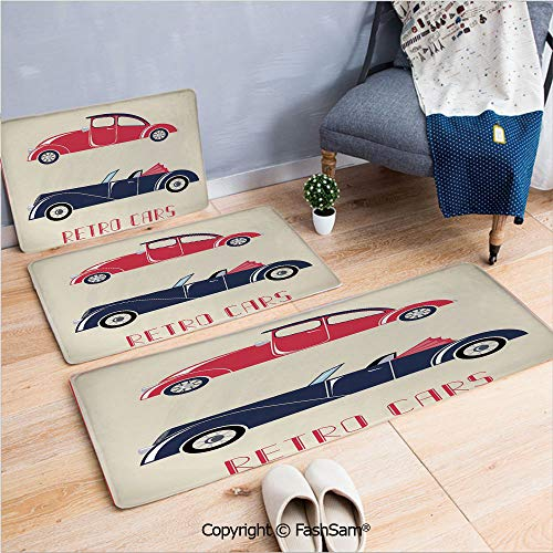 3 Piece Flannel Bath Carpet Non Slip Old Fashioned Cars Convertible Urban Vehicles Classical Roadsters Front Door Mats Rugs for Home(W15.7xL23.6 by W19.6xL31.5 by ()