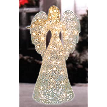 Lighted Angel Outdoor Christmas Decorations.48 Led Lighted White And Gold Glittered Angel Christmas Outdoor Decoration Warm White Lights
