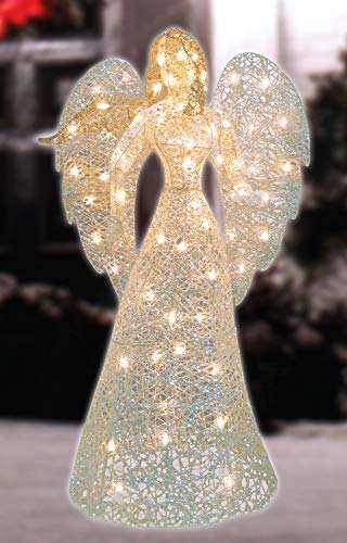 "48"" LED Lighted White and Gold Glittered Angel Christmas Outdoor Decoration - Warm White Lights"