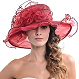 Women's Kentucky Derby Dress Tea Party Church Wedding Hat S609-A (S019-Claret)