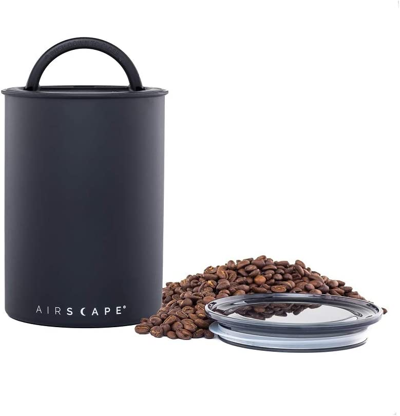 Airscape Coffee and Food Storage Canister - Patented Airtight Lid Preserve Food Freshness, Stainless Steel Food Container, Matte Black, Medium 7-Inch Can