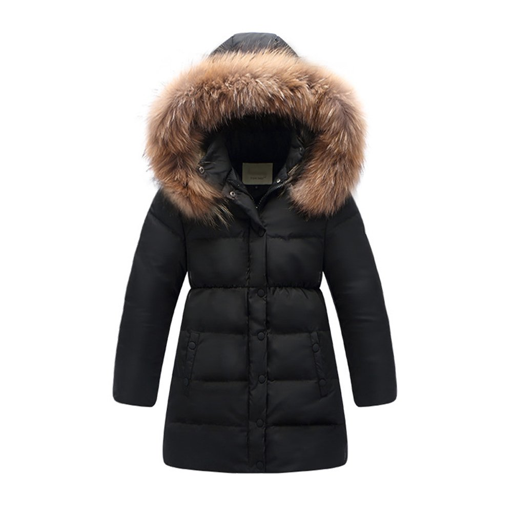 Kedera 2017 Big Girls' Winter Parka Down Coat Puffer Jacket Padded Overcoat with Fur Hood (T4-5, Black) by Kedera