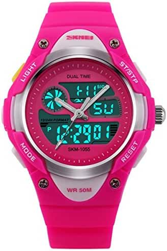 Outdoor Sports Kids Boy Girls LED Digital Alarm 2 Time Zone Stopwatch Waterproof Watches Red rose