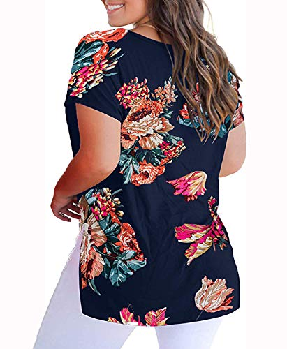 YASAKO Womens Plus Size Tops V Neck Floral Print Casual Striped Shirts with Side Split Loose Tees Navy 4XL