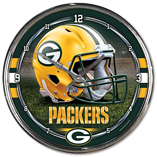 Nfl Football Team Chrome Wall Clock , Packers , 12-Inch
