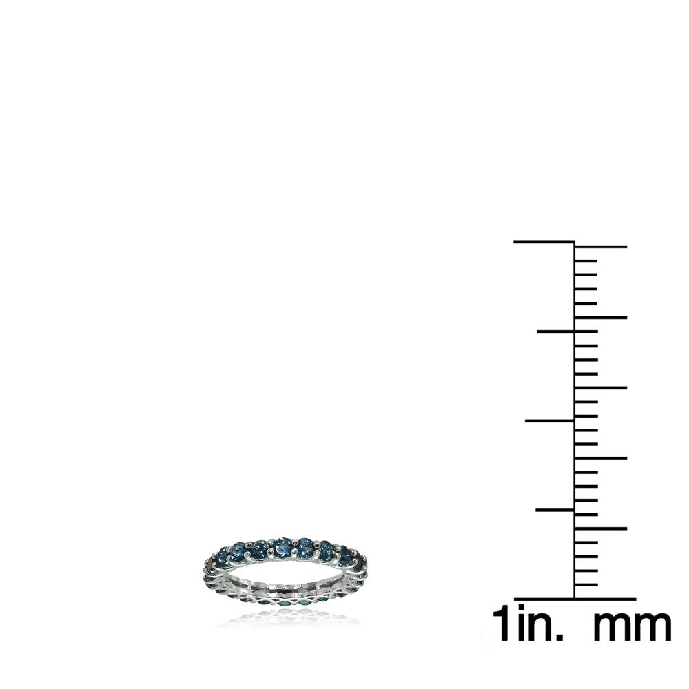 Ice Gems Sterling Silver London Blue Topaz 3mm Round-Cut Eternity Band Ring, Size 7 by Ice Gems (Image #3)