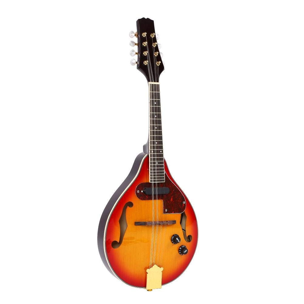Fafeims Sunburst Mandolin Kit,8 String A Style Mandolin with Storage Bag Cable Tuner Musical Instrument Acoustic Electric Mandolin