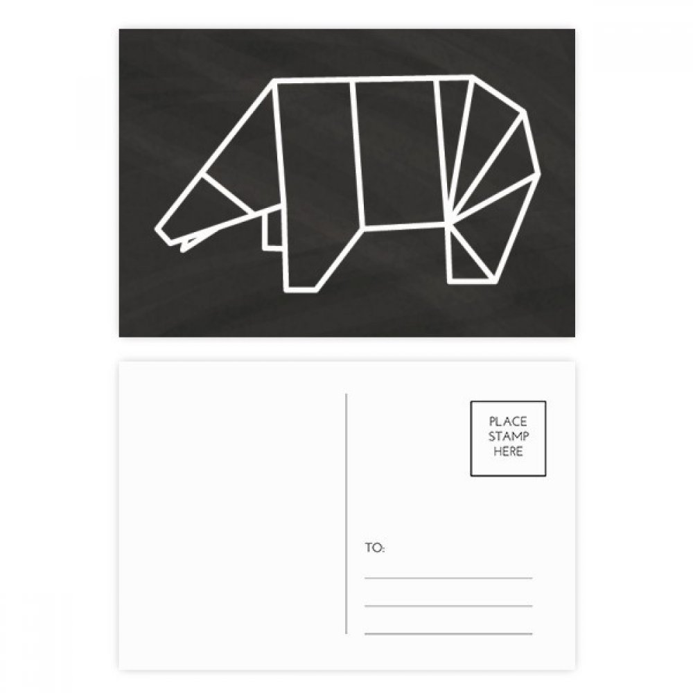 Abstract Origami Bear Geometric Shape Postcard Set Diagram Birthday Thanks Card Mailing Side 20pcs Office Products