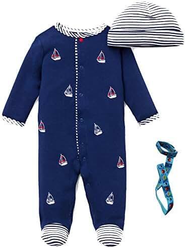 Little Me Preemie Newborn Baby Footie Sleep N Play Footed Sleeper Hat and Holder
