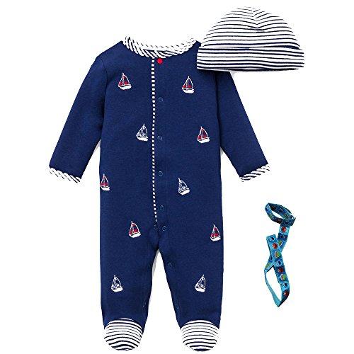 Little Me 3 Piece Baby Boy Gift Sleeper Stripe Hat & Holder 3 Months, Navy Blue