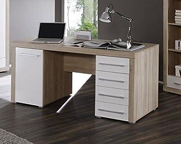 CHARON Schreibtisch Sonoma Eiche Weiß