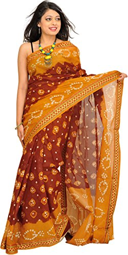 Exotic India Bandhani Tie-Dye Sari from Rajasthan with - Color Marigold And Brown