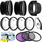 Professional HD 62mm 0.43x Wide Angle Lens + 2.2x Telephoto Lens + 3 Pieces Filter Set + 4Pc Close Up Lens + Lens Hood + Accessories Kit For All Canon, Nikon, Sony, Panasonic, Olympus, FUJI ,Cameras